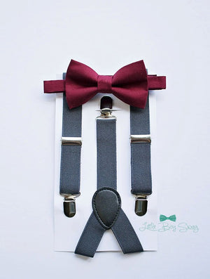 Burgundy Bow Tie Charcoal Suspenders - Boys To Men Sizes