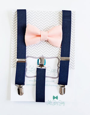 Navy Suspenders Peach Bow Tie, Kids Adult Bow Tie Suspenders, Ring Bearers Outfits, Boy Gift, Weddings, Baby Boy bow tie, First Birthday Boy