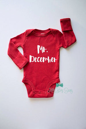 Boys Christmas Bodysuit..Mr. December..Boy Holiday Outfit..Christmas Gift..Newborn Custom Outfit..Baby Shower..Newborn Gift..Baby Boy Outfit
