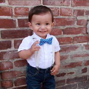 Blue Polka Dot Bow Tie And White Suspenders Set For Boys, Ring Bearer Outfit, Baby Boy Suspenders, Boys Cake Smash Outfit, 1st Birthday Boy
