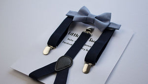 Navy Suspenders Dusty Blue Bow Tie Boys To Men Sizes