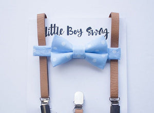 Boys Blue Polka Dot Bow Tie Tan Leather Suspenders, Boys Cake Smash, Baby Boy Bow Tie, Ring Bearer Outfit, Mens Bow Tie, Boy First Birthday