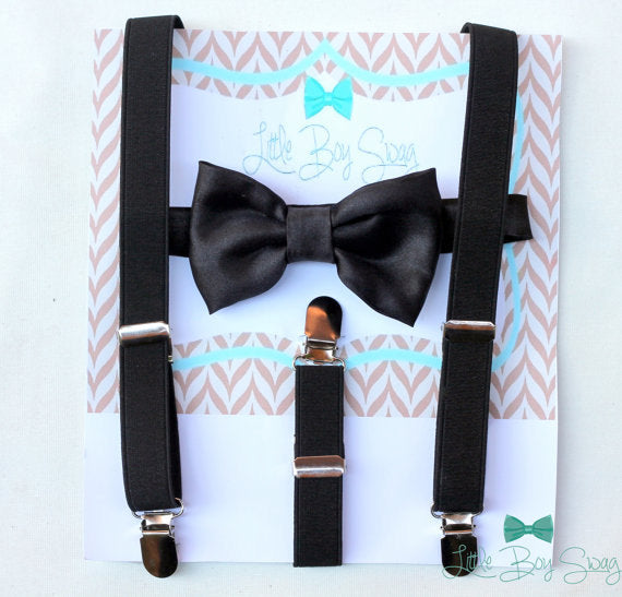 Black Satin Bow Tie with Black Suspenders, Boys Formal Wear, Wedding Bow Tie, Ring Bearer Outfit, Baby Boys Bow Tie, 1st Birthday Boy, Gift