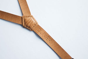 Boys Personalized Leather Suspenders - Embossed with name