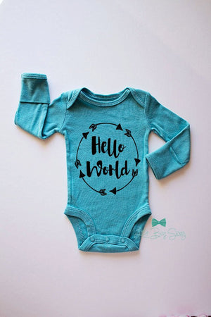 Boy Newborn Hello World Bodysuit..Newborn Bodysuit..Newborn Homecoming..Baby Shower Gift..Newborn Gift..Baby Boy Outfit..Boys Bodysuit..Boys