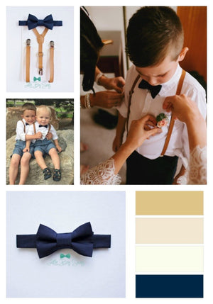 Boys Tan Leather Suspenders Navy Blue Bow Tie for Page Boy / Ring Bearer Outfit, Groomsmen Wedding Bow Tie, Boy Gift,