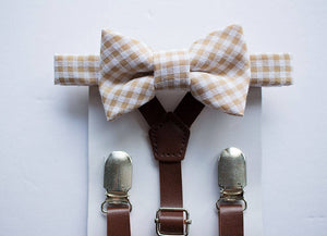 Leather Suspender Beige Tan Khaki Bow Tie, Ring Bearer Outfit, Boys Bow Tie Suspenders, Rustic Wedding, Boys Cake Smash, Boy First Birthday