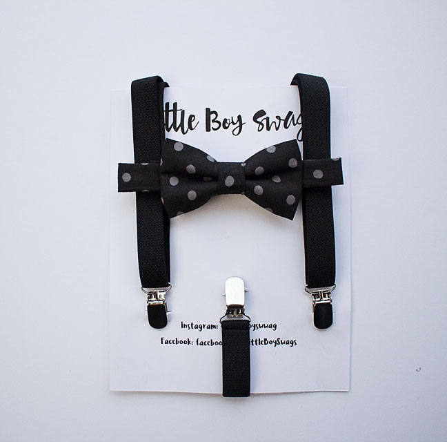 Black Gray Polka Dot Bow Tie For Boys To Men