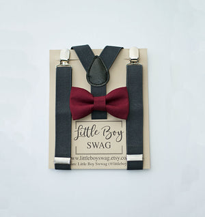 Wine Bow Tie Charcoal Grey Suspenders Ring Bearer Outfit, Country Barn Weddings, Groomsmen, Boys Birthday