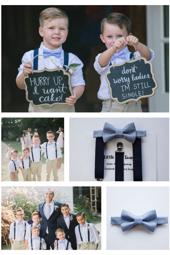 Boys Bow Tie, Boys Dusty Blue Bow Tie Navy Suspenders, Ring Bearer Bow Tie, Wedding Bow Tie, Ring Bearer Outfit, Baby Bow Tie, Wedding Gift
