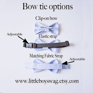 Boys Black Satin Bow Tie Light Gray Suspenders.  A Perfect Boys Outfit New Years Parties, Ring Bearers, Birthdays, Or Cake Smash