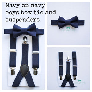 Navy Blue Suspenders & Boys Bow Tie for Page Boy, Baby Wedding Outfit, Baby Boy Gift Ideas, First Birthday Outfit, Ring Bearer, Cake Smash