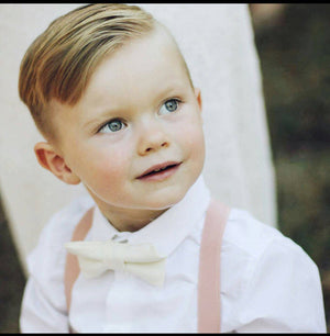 Blush Suspenders Nude Bow Tie  Boys, Wedding Bow Tie, Ring Bearer Outfit, Blush Nude Wedding, Baby Boy Suit, Boys Clothes