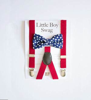 Boys 4th of July, Bow Tie Red Suspenders, Boys 4th of July Bow Tie, Independence Day, Boy Bow Tie Suspender Set, Boys Bow Tie