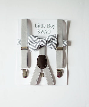 Boys Gray Suspenders and Bow Tie, Boys First Birthday Outfit, Boys Cake Smash Outfit, Toddler Bow Tie, Boys Christmas Outfit, Gray Bow Tie