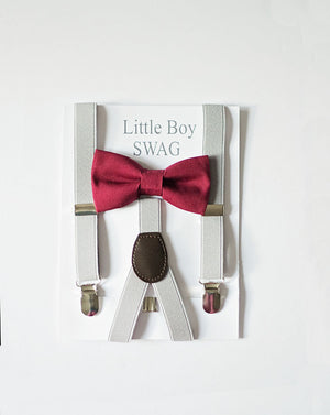 Marsala Bow Tie, Wine Bow Tie, Boys Bow Tie and Suspenders, Grey Suspenders for Boys, Burgundy Bow Tie Boys to Men, Boys Christmas Outfit