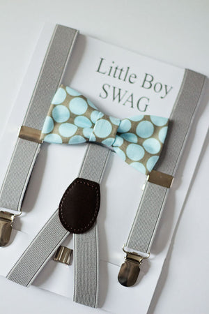 Mint Polka Dot Bow Tie with Gray Suspenders For Boys, Mens Bow Tie, Boys Bow Tie, Mint Wedding Bow Tie, Ring Bearer Outfit, Boys Suspender