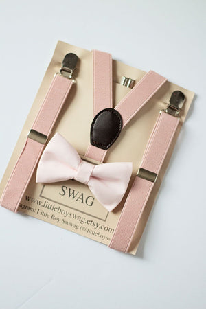 Rustic Dusty Blush Bow Tie Suspenders Set- Ring Bearer, First Birthday Boy, Groomsmen Bow Tie, Boys Cake Smash