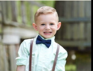 Boys Rustic Leather Suspenders Navy Bow Tie, Mens Bow Tie, Baby Boy Bow Tie, Boys Suits, Rustic Wedding, Ring Bearer Outfit, Country Wedding