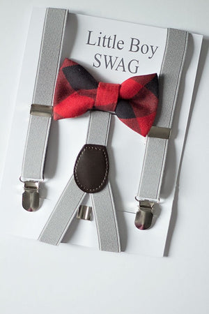 Red and Black Plaid Boys Bow Tie Set, Boys Bow Tie and Gray Suspenders, Boys Christmas Outfit, Boys Red Bow Tie, First Birthday Boy Outfit