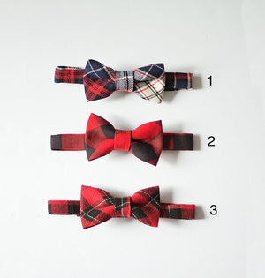 Boys Red Bow Ties, Red Navy Plaid Boys Bow Ties, Boys Christmas Outfit, Christmas Gift for Boys, Stocking Stuffer, Boys Birthday Outfit
