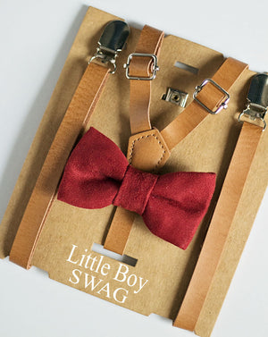 Rustic Tan Leather Suspenders And Burgundy Bow Tie