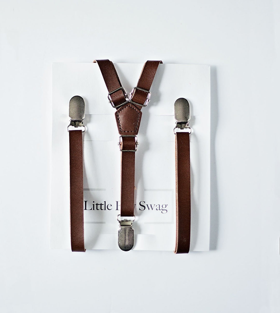 Coffee Brown Leather Suspenders - Newborn to Adult Sizes