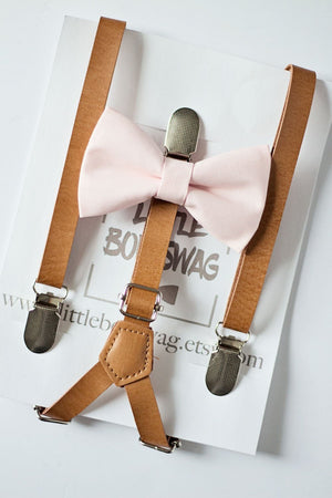 Ring Bearer Pale Blush Bow Tie Tan Skinny Leather Suspenders, Rustic Wedding,Groomsmen Bow Tie,Wedding Bow Tie,Boy First Birthday Cake Smash