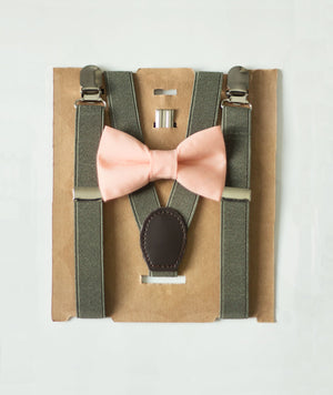 Moss Green Suspenders Peach Bow Tie Set for Ring Bearer, First Birthday Boy, Mens Bow Tie, Boys Cake Smash / Rustic Beach Wedding