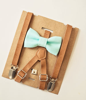 Mint Blue Boys Bow Tie Tan Leather Suspenders, Ring Bearer, Groomsmen Bow Tie, First Birthday Boy, Boys Birthday Gift,Boys Cake Smash Outfit