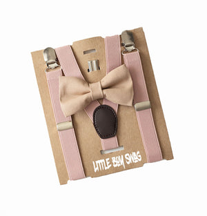 Khaki Bow Tie & Blush Suspenders for Page Boy/Ring Bearer Outfit, Boy First Birthday, Cake Smash, Boys Baby Shower Gift, Beige Mens Bow Tie