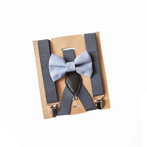 Grey Boy Bow Tie Charcoal Grey Suspenders, Ring Bearer Outfit, Groomsmen Suspenders, Gift for Ring Bearer or Baby Shower, Infant-Adult sizes