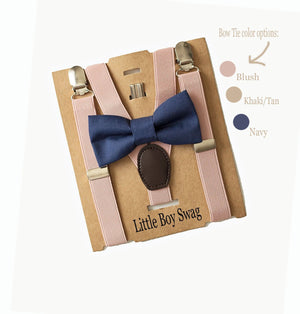 Navy Blue Bow Tie & Blush Suspenders for Page Boy/Ring Bearer Outfit, Groomsmen,  Cake Smash Outfit, First Birthday Outfit Boys, Weddings