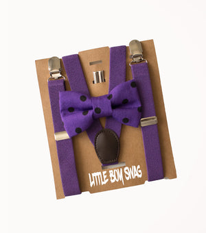 Purple Bow Tie & Suspenders for First Birthday Outfit Boys, Easter, Cake Smash Outfit, Page Boy, Ring Bearer Gifts, Baby Shower Gift