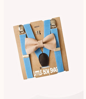 Boy Wedding Khaki Bow Tie & Blue Suspenders for Infants, Toddlers- Cake Smash Outfit, 1st Birthday, Ring Bearer, Gifts for Baby Shower