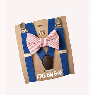 Coral Boys Bow Tie & Royal Blue Suspenders for Infants, Toddlers- Cake Smash Outfit, 1st Birthday, Ring Bearer, Gifts for Baby Shower