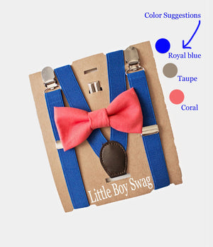 Page Boy Coral Bow Tie & Royal Blue Suspenders- Infants, Toddlers- Cake Smash Outfit, 1st Birthday, Ring Bearer, Gifts for Baby Shower