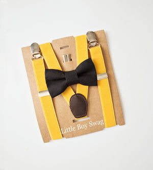 Black Bow Tie Yellow Suspender - Newborn To Adult Sizes