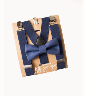 Boys Navy Blue Bow Tie Suspenders  Infant- Mens sizes- Perfect for Ring Bearer Outfit, Boys 1st Birthday, Cake Smash, Groomsmen Bow Tie,Gift