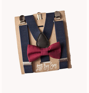 Navy Blue Suspenders & Boys Marsala/Wine Bow Tie for Page Boy/Ring Bearer Outfit, Baby Wedding Outfit, Boy Gift Ideas, First Birthday Outfit