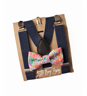 Floral Bow Tie & Navy Suspenders forToddler Easter, Ring Bearer/Page Boy Outfit, Boy First Birthday, Rustic Cake Smash,Boys Gift