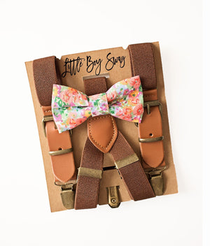 Boy Floral Bow Tie & Rustic Leather Suspenders for Wedding, Ring Bearer/Page Boy Outfit, Boy First Birthday, Rustic Cake Smash