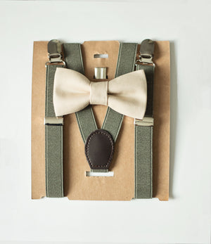 Ring Bearer Proposal Gift, Khaki/Tan Bow Tie Moss Green Suspenders, Boy Easter, First Birthday Outfit, Cake Smash, Groomsmen Bow Tie
