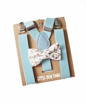 Gold Bow tie Baby Blue Suspenders Set for Boys Easter Outfit,First Birthday Boy, Boys Cake Smash, Ring Bearer, Newborn/Baby Shower Gift Boy