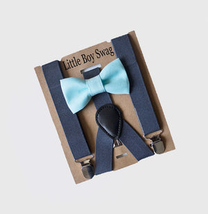 Mint Bow Tie Charcoal Gray Suspenders for Weddings, Boys First Birthday, Easter, Ring Bearer Gift, Groomsmen, Cake Smash,Infant-Adult sizes