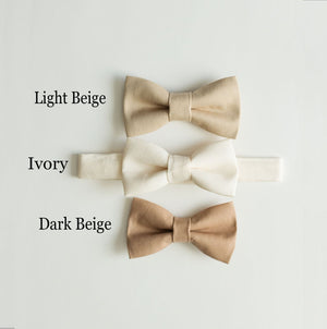 Ivory Bow Tie for Boys Baptism Outfit, Christening Outfit,  Infant to Men Sizes, Ring Bearer,  1st Birthday Boy, Baby Shower Gift