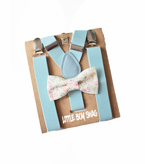 Floral Bow tie Baby Blue Suspenders for Boys First Easter Outfit,First Birthday Boy, Boys Cake Smash, Ring Bearer, Baby Shower Gift Boy