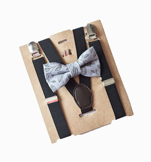 Kids Suspenders & Bow Tie for Ring Bearer Outfit, Boys Cake Smash Outfit, Boys 1st Birthday Outfit, Baby Shower Gift Boys