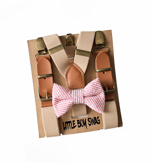 Rustic Coral Bow Tie Beige Leather Suspenders for Ring Bearer/Page Boy Outfit, Gifts, Toddler Easter,Boy First Birthday, Rustic Cake Smash