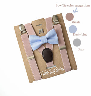 Dusty Blue Bow Tie Blush Suspenders- Page Boy Gift, Easter, Ring Bearers Outfit,Boys Cake Smash,First Birthday Boy,Baby Shower Gift for Boys